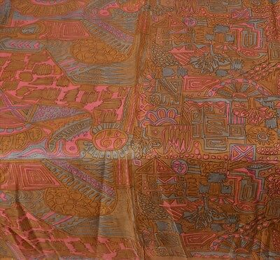 Sanskriti Antique Vintage 100% Pure Silk Saree Brown Printed Sari Craft Fabric