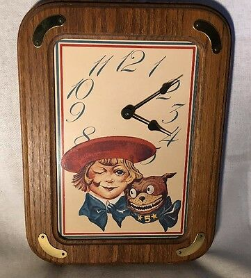 Vintage BUSTER BROWN SHOES TIGE DOG  ADVERTISING WALL CLOCK DECOR
