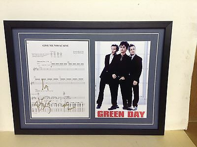 Green Day Hand Signed/Autographed Songsheet with Poster & COA