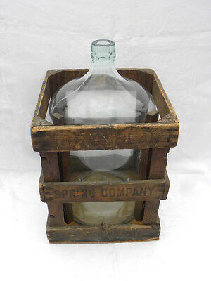 Vint 1929 Great Bear Green/Blue Tint Glass 5 Gallon Water Cooler Bottle w/Crate