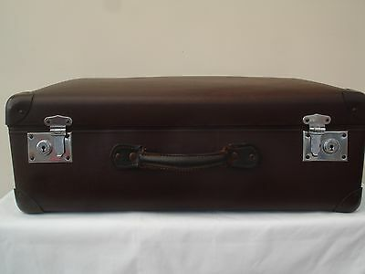 Vintage Retro Large Leather Globe Trotter Suitcase  Home Storage Or Display