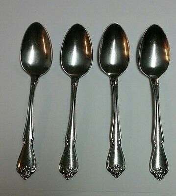 "1881 Rogers Oneida 4pc lot Teaspoons Arbor Rose True Rose 6"" Stainless"