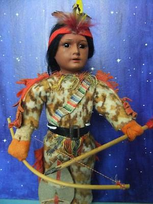 Antique Bisque Head Native American Scowling Indian Character Doll Marked 14/0