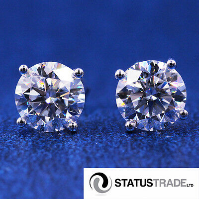 1.00ct BRILLIANT CUT MOISSANITE DIAMOND STUD EARRINGS 18k SOLID WHITE GOLD D COL