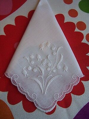 BN Vintage Embroidered Swiss Cotton Handkerchief Ideal Bride Wedding Lily Valley
