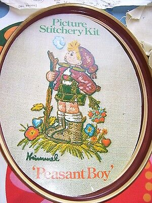 """Vintage Embroidery Kit Picture & Frame 1975 Hummel Peasant Boy 13"""" x 10"""" Sewing"""