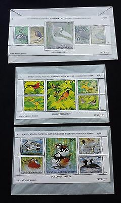 1986 1987 1988 National Audubon Society Wildlife Conservation Stamps 2Nd 3Rd 4Th