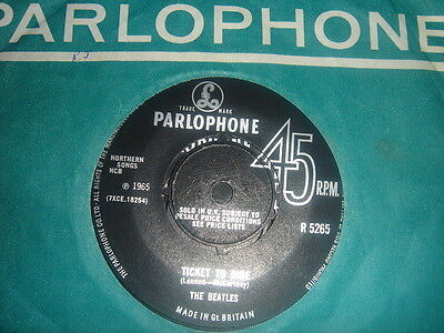"""THE BEATLES Ticket To Ride / Yes It Is PARLOPHONE  VARIATION 7"""" 45 EX nr mint"""