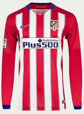 Mens Atletico Madrid Home Football Jersey Long Sleeve 2015/16 Uk L