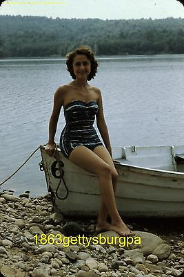Vtg 1950's Photo Slide Red Border Brunette Woman in Bathing Suit sitting on boat
