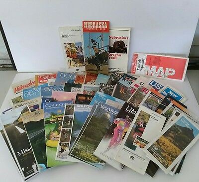 Lot of 50 Old Road Maps Used