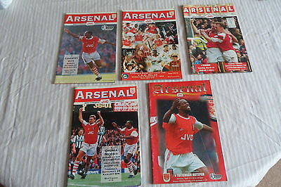 A Collection Of Arsenal Programs 3 Euro And 2 League From The 1990S