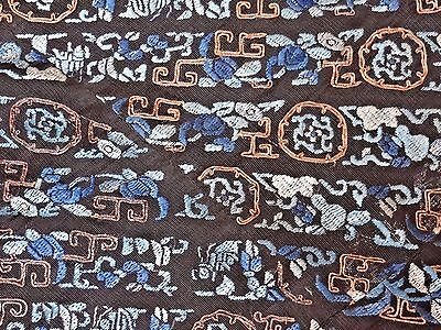 19th C. Qing [Ching] Dynasty Chinese Silk Embroidered Robe Trim Segment- 6 FEET!