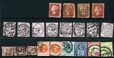 Selection of GB QV Stamps (21) Showing Some Interesting Postmarks & Perfins