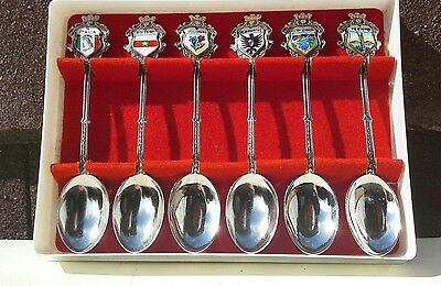 Set of six collectable Italian souvenir teaspoons boxed silver plated?