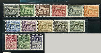 TURKS & CAICOS, GB Sc78~89(14)CplSet,1938 GVI Def.Salt Industry, to 10sh MH$79