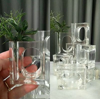 Lot Set 8 Napkin Rings bud Vase Lucite Style Clear Plastic Place Setting Table