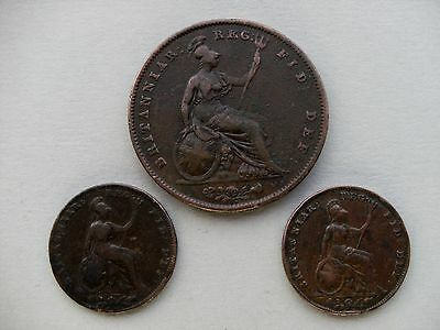 Queen Victoria- YHCC 2 x Farthing Coins 1843,& 1847, & 1 x Penny Coin 1844.