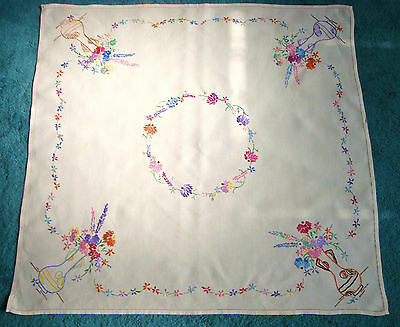 "Vintage Embroidered Multi Coloured Flower Vases Linen Tablecloth 34"" Square"