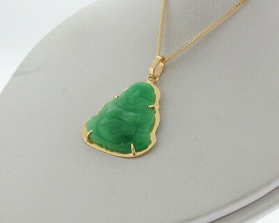 """Fine Jewelry Green Jade Happy Buddha Solid 18k Yellow Gold Pendant 18"""" Necklace"""