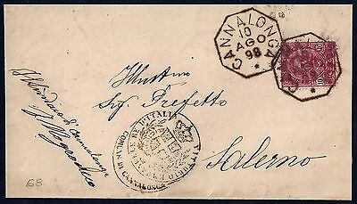 Italy 1898 Canalonga Ywo Superb Octagonal Cancels On Folded Letter To Salerno W/