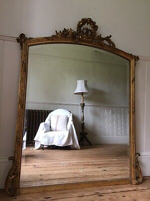 Large Antique French Gilt Louis XVI Mirror / Overmantel - Super Condition