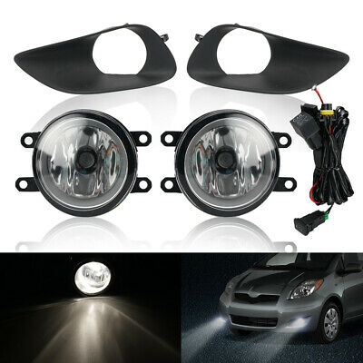 Pair Front Clear Fog Lights Switch Wring For Toyota Yaris Sedan 4-Door 2006-2011