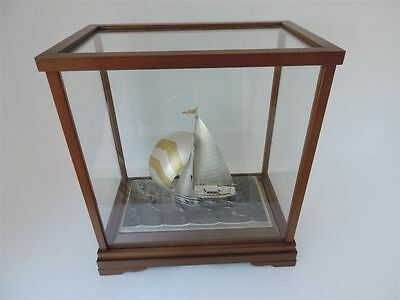 Signed Japanese Solid Sterling Silver 985 Sail Boat Yacht Ship Takehiko Japan