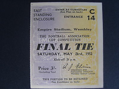 1952 FA CUP FINAL  BLACKPOOL v NEWCASTLE UNITED   Good condition ticket