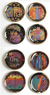 Laurel Burch Cats Plates Set of 8 Franklin Mint Limited Edition 1990s Collection