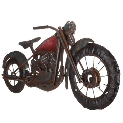 Harley Davidson MOTORCYCLE RUSTIC METAL WALL ART - Black Brown Red Rusty Piece