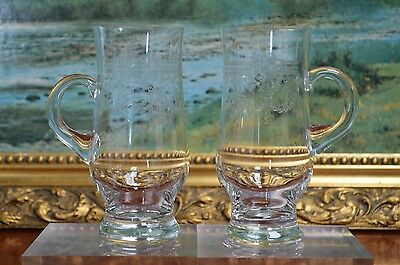 Vintage Pair of Etched Crystal Glass Tankards Slovakia LRE With Handle