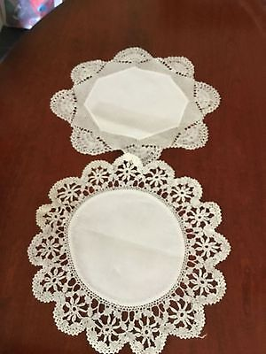 2 Antique Irish Damask Linen And Hand Crocheted Lace Trim Doilies