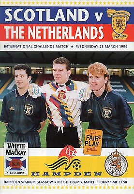 Scotland v Netherlands / Holland 23 March 1994 Programme @ Hampden Park