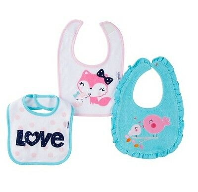 Gerber Baby Girl 3-Pack Bibs Blue/Pink w/ Birds/Cats BABY CLOTHES SHOWER GIFT