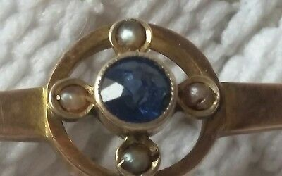 Antique Sapphire & seed pearl 9ct gold pin brooch