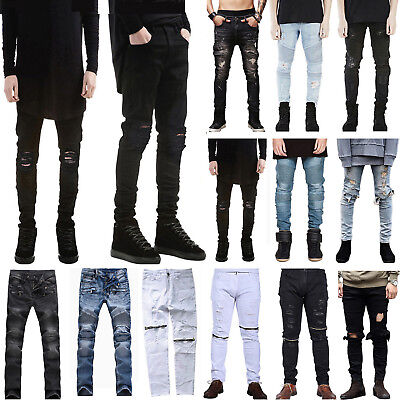 Men's Ripped Skinny Biker Jeans Destroyed Frayed Designed Slim Fit Denim Pants