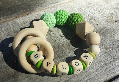 Baby Personalized Teether Natural Teething Ring Nursing Crochet Beads Wooden