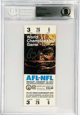 Paul Hornung Signed Replica Super Bowl I Ticket BAS Packers Slabbed 0009788112
