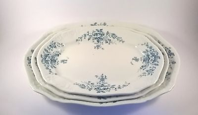 Set of three antique Victorian serving plates / platters Trilby blue & white