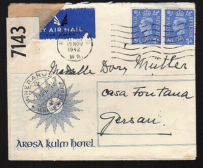 GREAT BRITAIN 1942 Censored Air Mail Cover to Switzerland EXAMINER 7143