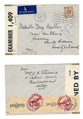 GREAT BRITAIN 1942 Censored Air Mail Cover to Switzerland EXAMINER 1409
