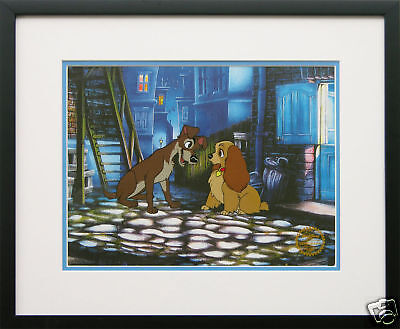 "Disney Framed Animation Cel ""Lady and the Tramp"" gift dog free backround"