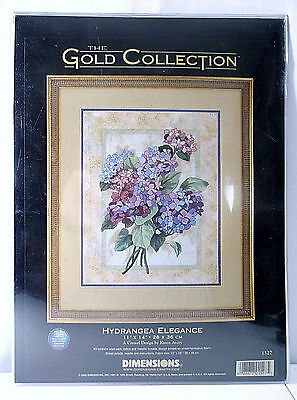 """Dimensions The Gold Collection """"Hydrangea Elegance"""" #1527 Crewel Embroidery Kit"""