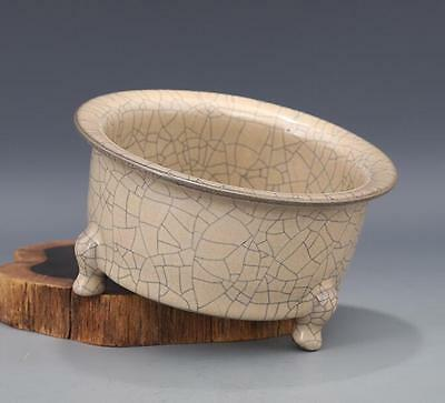 chinese ancient yellow glaze  porcelain sculpture Gold wire three foot basin
