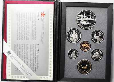 1991 Canada Double Proof Set Silver Dollar w/ Box & COA 7 Coin