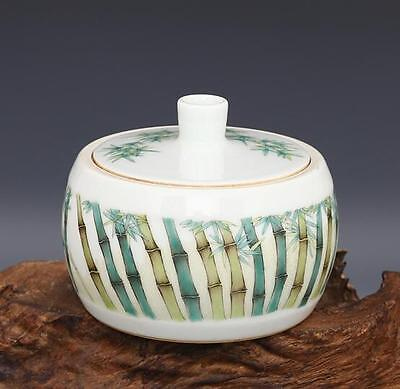 chinese ancient Colored glaze porcelain sculpture  bamboo Cover pot