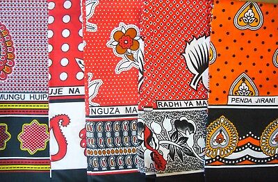African Kanga Khanga Sarong Pareo Throw Wrap Red Orange Yellow - Beachwear Home