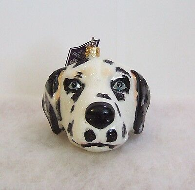 Slavic Treasures Ornament 2008 Dalmatian Head Blue Eyes Hand Blown Glass (S3)