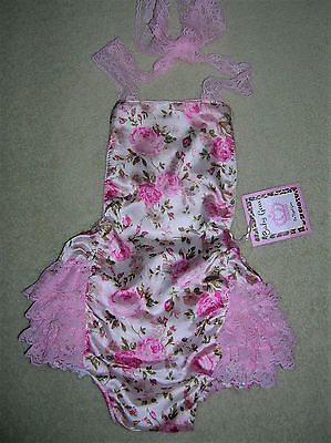 ❤️adorably Cute!❤️new❤️ruffled Butt❤️fancy Romper❤️pink Roses-Ivory-Lace❤️6-12M